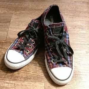 Plaid converse low tops